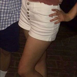 High Waisted Button Front White Shorts